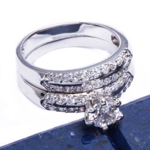 BEAUTIFUL 1CT SET .925 Sterling Silver Ring SIZES 6-9