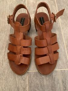 STEVEN-BY-STEVE-MADDEN-BROWN-LEATHER-STRAPPY-SANDALS-SHOES-WOMEN-039-S-SIZE-7-M