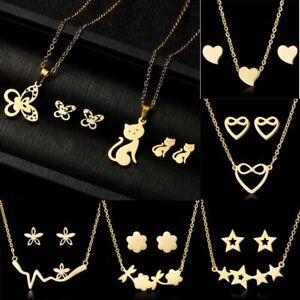 Stainless-Steel-Women-Heart-Cat-Stars-Gold-Chain-Necklace-Earrings-Jewelry-Set