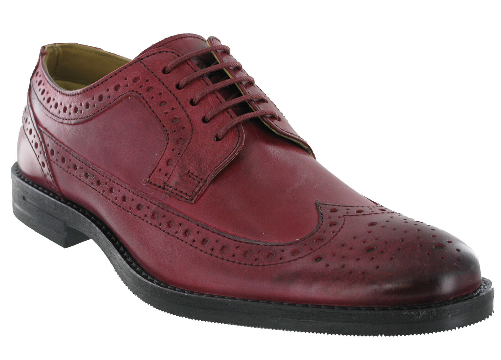 Burgundy Brogue Schuhes Base London Leder Milton 5 Lined Eye  Uomo Formal Lined 5 Lace e20208