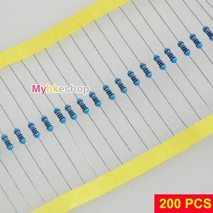200PCS 1/4W Resistor Metal Film 1K 22K 47K 1M 10M 1/10/47/100/470/680 ohm WFEU