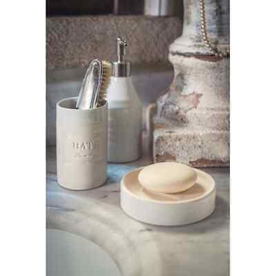 Man Zahnbürstenhalter Set 2-tlg Woman Keramik creme weiß Shabby Vintage