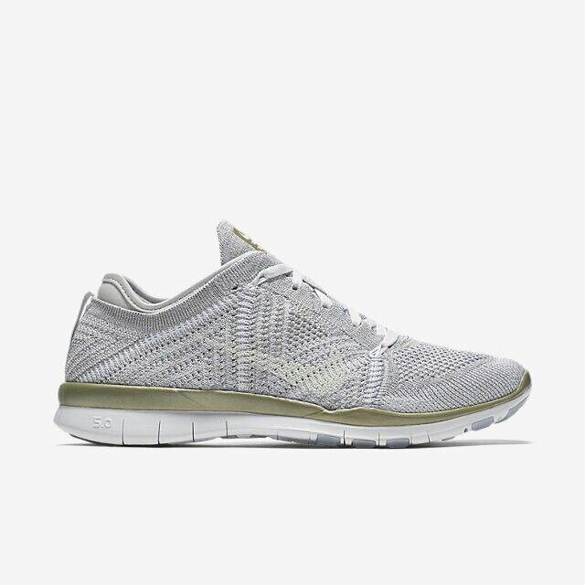 Nike Free TR Flyknit MTLC Platinum WEISS Gold #804534-003