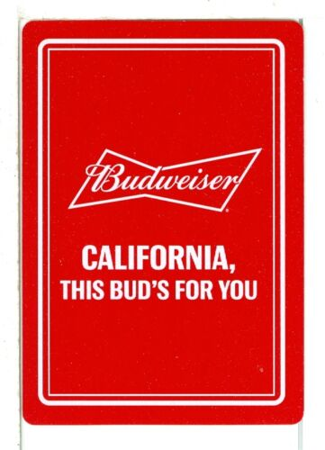 """California/"""" Beer Wide Red Single Playing Card /""""Budweiser"""