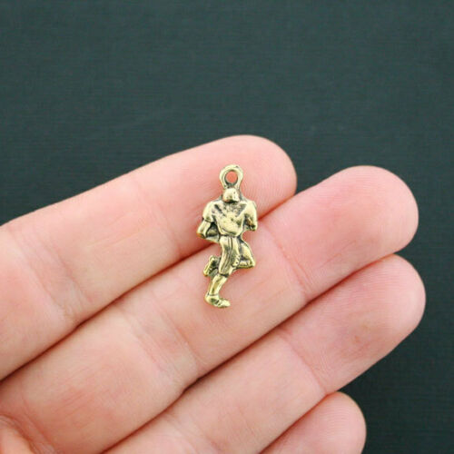 6 Football Player Charms Antique Gold Tone 2 Sided GC141