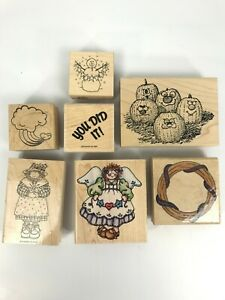 SCRAPBOOKING-STAMPS-LOT-OF-7-STAMPS-PUMPKINS-ANGEL-YOU-DID-IT-WOOD-STAMPIN-UP