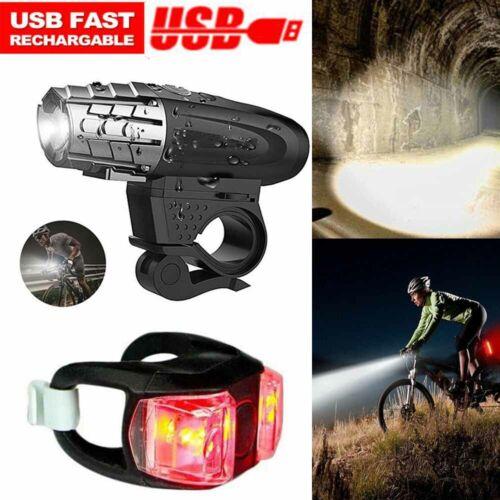 Neu LED Fahrradlampe Set USB Akku Radlicht Fahrradlicht Vorne /& Hinten Lampe Kit