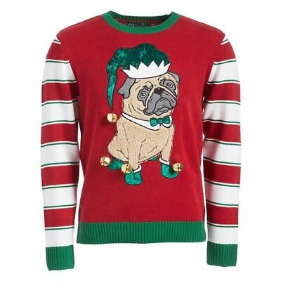 Ugly Christmas Sweater Women's Elf Pug, Cayenne, Small