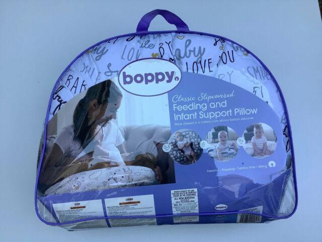 Boppy Pillow Slipcover Blue Infant Support Fresh Flowers Baby Feeding Nursing