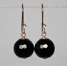 10mm GENUINE FACETED BLACK ONYX ROUND BEAD / BALL 9ct YELLOW GOLD DROP EARRINGS