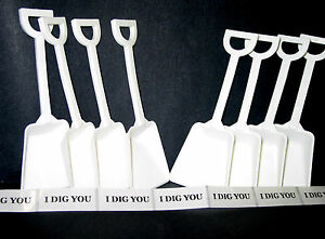 "48 White Plastic Toy Beach Sand Shovels with 48 ""I Dig You"" Stickers Mfg USA*"