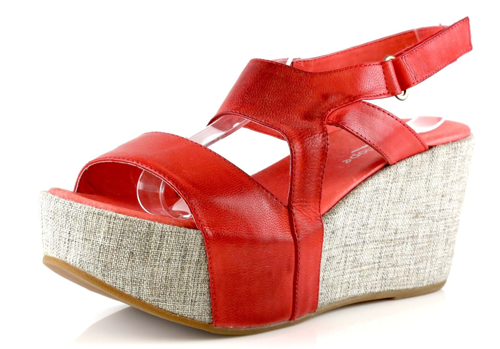 Antelope 857 rouge Leather Ankle Strap Wedge Sandals 7048 Taille 41 EU NEW