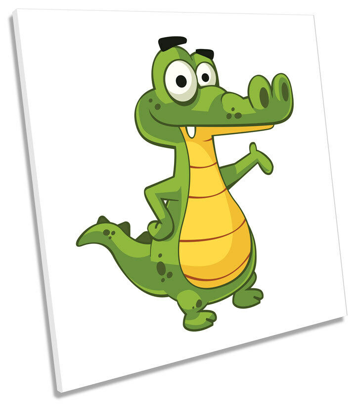 Crocodile Character Kids Room SQUARE CANVAS WALL ART Boxed Framed