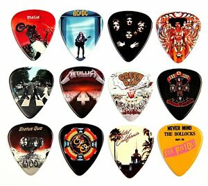 12 X Célèbre Album Covers Guitar Picks Médiators-afficher Le Titre D'origine Saveur Aromatique