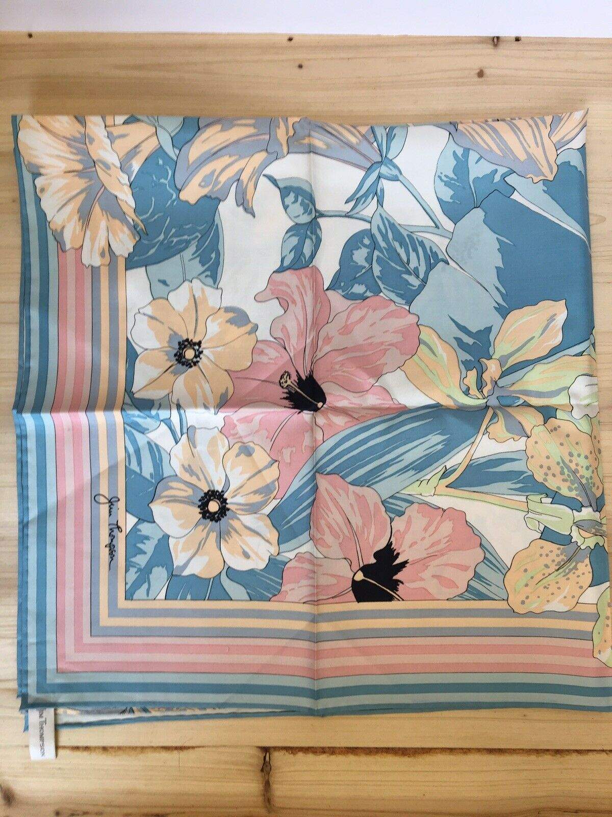 Large Flower Patterned Square 100% Silk Scarf by Jim Thompson - Made in Thailand