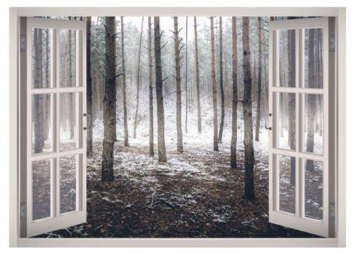 Winter Snow Forest Window 3D Wall Decal Art Mural Home Decor Canvas Vinyl W90