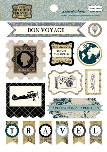 Carta Bella Paper Old World Travel Collection Layered Stickers 2016