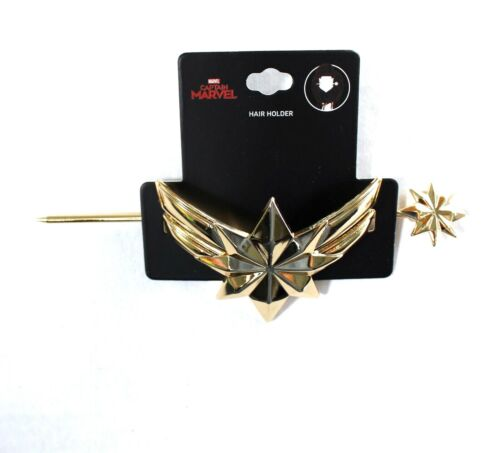 Marvel Captain Marvel Logo Hair Bun Pin Holder Metal Gold Tone