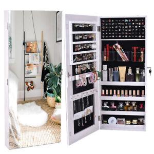 Wall Hanging Door Mirror Jewelry Cabinet Storage Organizer ...