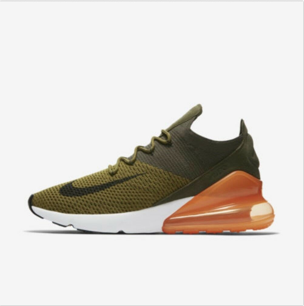 sports shoes c4507 238fa Nike Air Max 270 Flyknit Olive Olive Olive Black orange White AO1023-301  Running shoes