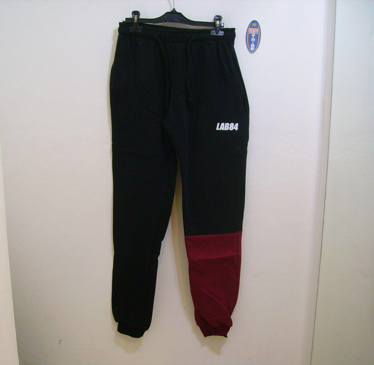 Lab84 Trainingshose lang Sweatshirt Winter S8 PNTM1007 schwarz Bordeaux