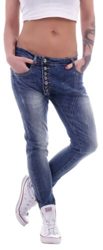 Damen Boyfriend Jeans Baggy Harem Hose Hüftjeans Girlfriend mit Knopfleiste D68
