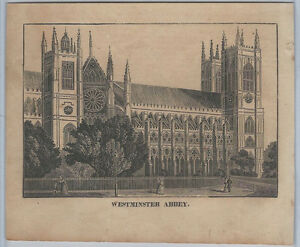 1830s Architectural Woodcut - Westminster Abbey, England Great Britain
