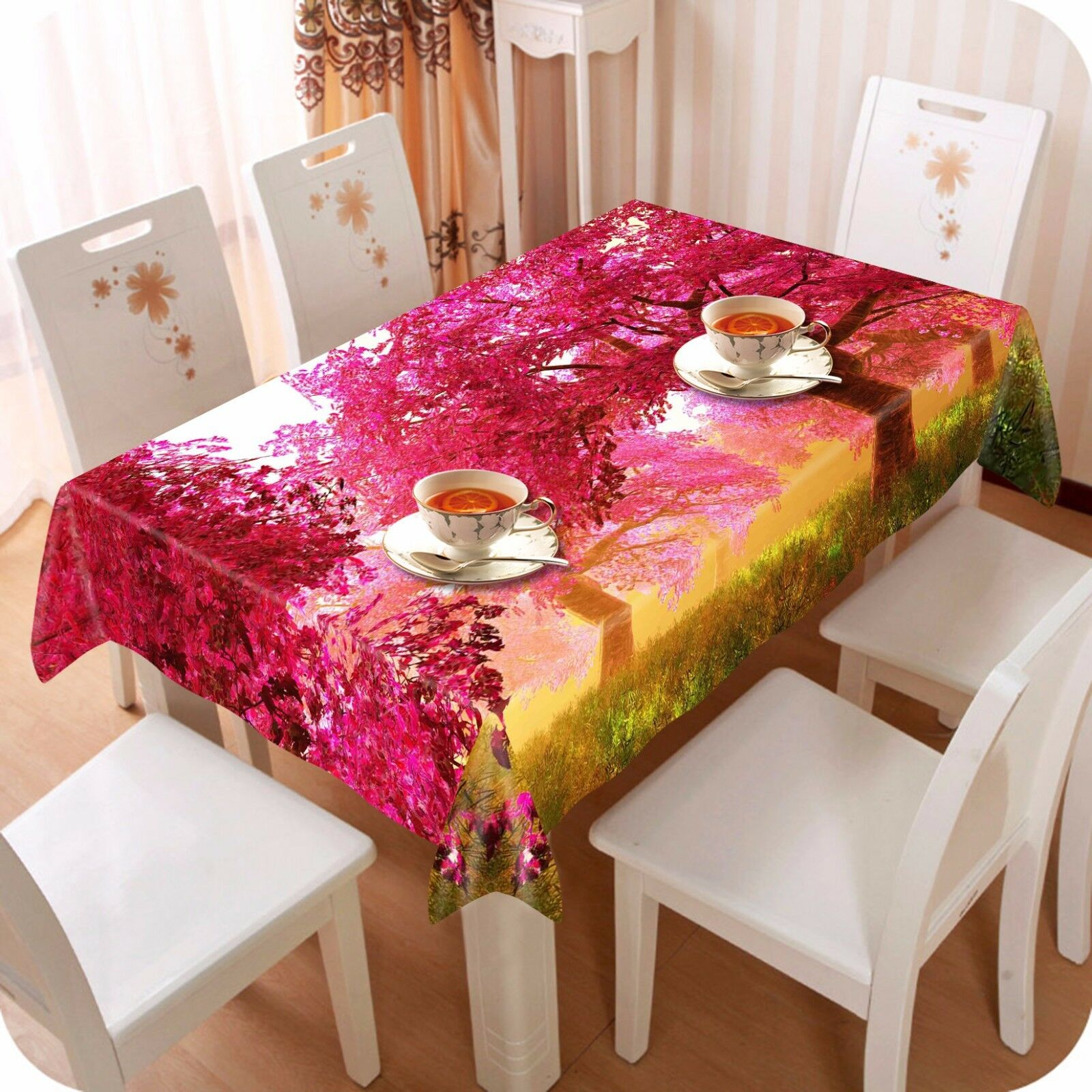 3D Maple Trees Tablecloth Table Cover Cloth Birthday Party AJ WALLPAPER UK Lemon