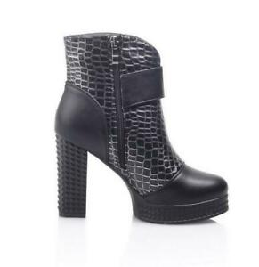womens round punk block heel platform embossed leather