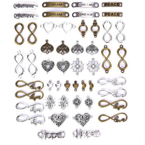 50PCS//Lot Antique Alloy Connector Infinity Charms Pendant DIY Jewelry Findi.BB