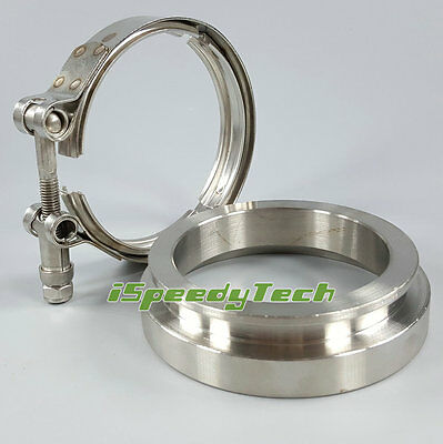 Ispeedytech GT45 Universal Turbocharger Turbo Downpipe Exhaust SS304 V-Band 3.25 Flange 4.25 Clamp