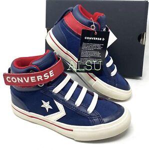 Converse Pro Blaze Strap High Leather Navy Kid's Shoes Navy Blu ...