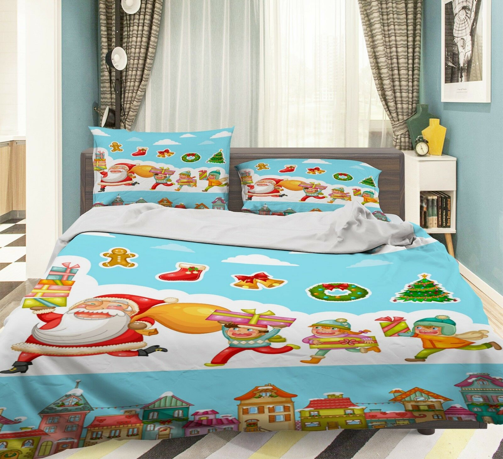 3D Weihnachtskarten Xmas 681 Bett Kissenbez im Kombibereich 65533;(im Kombibereich 65533ge Steppen Duvet Decken Set Single DE