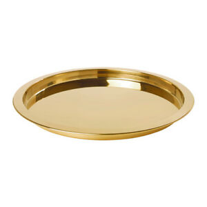 38cm-IKEA-Round-GOLD-Metal-Serving-Drinks-Bar-Tray-Platter-Wedding-Party-Home