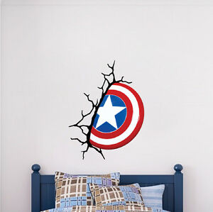 Image is loading Captain-America-Shield-Wall-Decal-Marvel-Comic-Decals-  sc 1 st  eBay & Captain America Shield Wall Decal Marvel Comic Decals Avengers ...