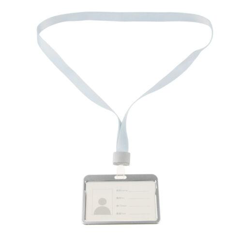 Silver Aluminum Alloy Transparent ID Badge Holder Name Tag Holder /&Lanyard