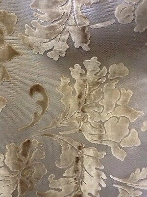 Designer Upholstery Fabric F/r Beige And Grey Carved Patterned Velvet By Metre