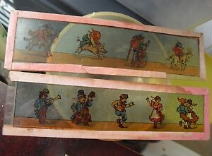 Lot-of-2-Early-1900s-Magic-Lantern-Cartoon-Glass-Slides-Children-and-Animals