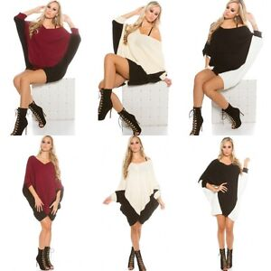 Ladies-Stylish-Relaxed-fit-Jumper-mini-Dress-Sweater-One-size-fits-UK-10-12-14