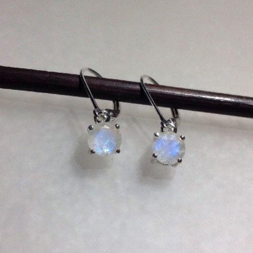 Sterling Silver Natural Rainbow Moonstone Dangle Earrings *Various Styles*