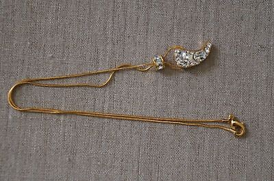 "NEW Rachel Zoe Gold Crystal Pave Horn Pendant Necklace 17"" 2014 Safari Collec."