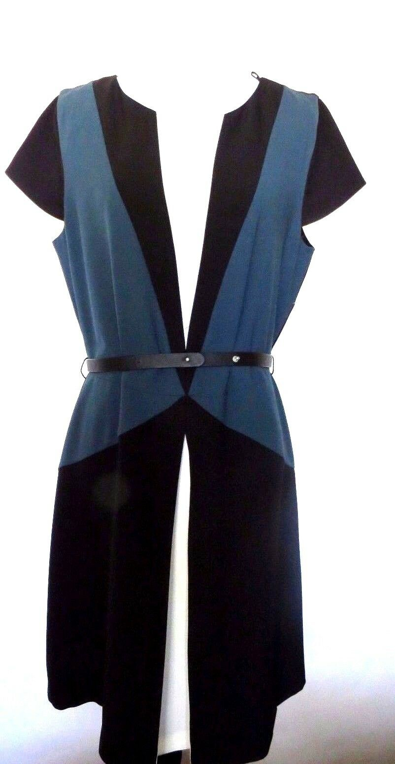 Zara schwarz Blau Weiß Farbe Solid  Farbe Block  Style  Sheath  Dress  Größe   L