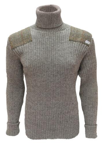 14132 La Ghillie 100/% Puro Nuova Lana Britannica Maglione con Harris Tweed Patch