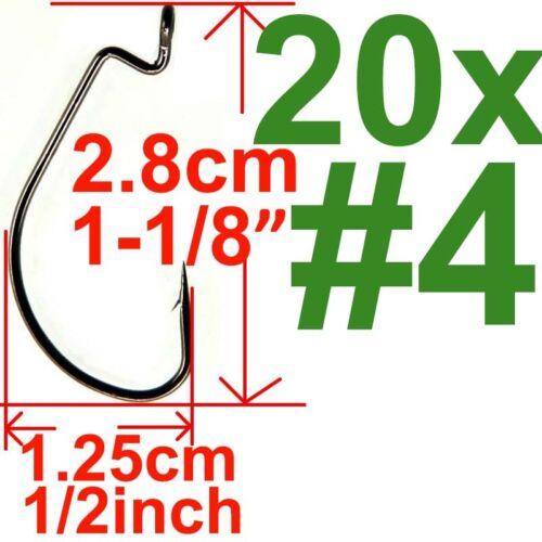 20 x Drop Shot Swivel Hooks Down Shot Rig Hook Soft Worm Fishhook Bass Fishing