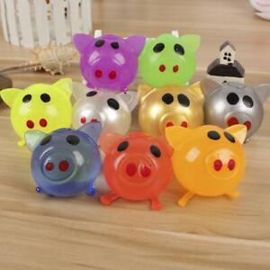 1X-Jello-Pig-Niedlichen-Anti-Stress-Splat-Wasser-Pig-Ball-Vent-Spielzeug-Klebrig