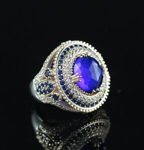 925-Sterling-Silver-Handmade-Authentic-Turkish-Sapphire-Ladies-Ring-Size-7