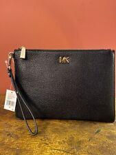 Michael Kors Small Black Pebbled Leather Zip Pouch Wristlet EUC