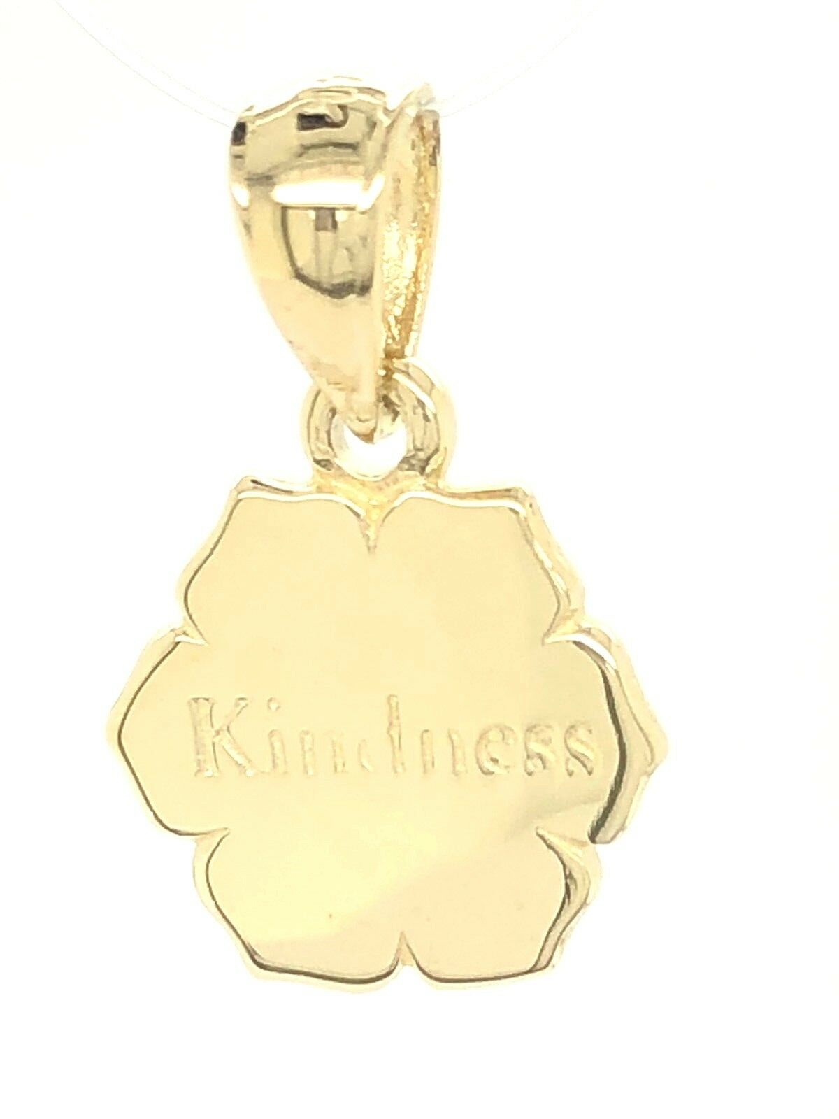 14k Yellow gold Flower  Kindness   Word Charm Pendant 2g