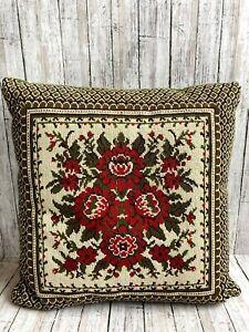 Vtg-Wool-Needlepoint-Pillow-Flowers-Red-Green-Velvet-Green-Back-14-034-x-14-034-Zipper
