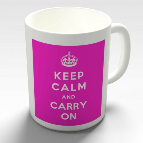 PINK Keep Calm and Carry On Coffee Mug